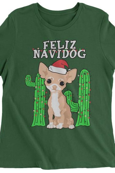 Feliz Navidog Ugly Christmas Womens T-shirt