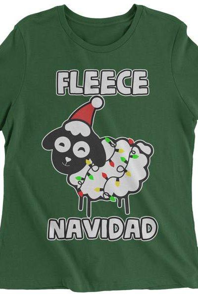 Fleece Navidad Ugly Christmas Womens T-shirt