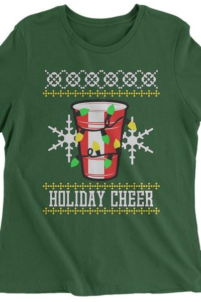 Holiday Cheer Red Cup Ugly Christmas Womens T-shirt