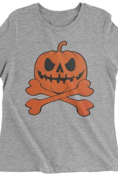 Pumpkin Skull And Crossbones Womens T-shirt