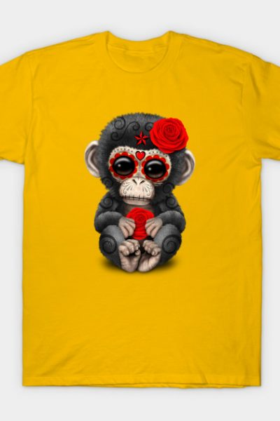 Red Day of the Dead Sugar Skull Baby Chimp T-Shirt
