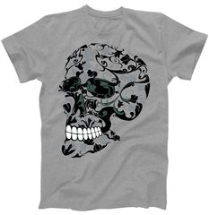 Skull With Flowers Day of the Dead T-Shirt | TeeShirtPalace