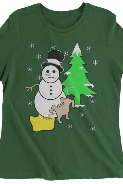 Snowman With Dog Peeing Ugly Christmas Womens T-shirt