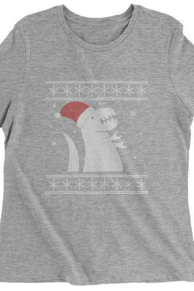 T-Rex In The Snow Ugly Christmas Womens T-shirt