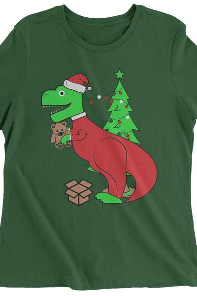 Tyrannosaurus Rex Ugly Christmas Womens T-shirt
