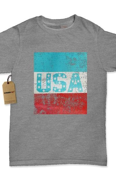 USA Vintage Distressed Look Womens T-shirt