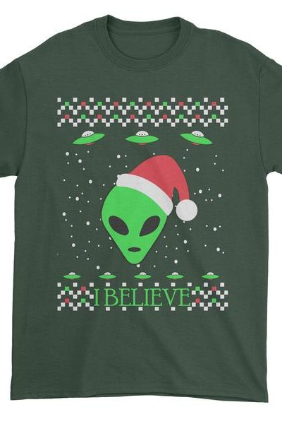 Aliens I Believe In Aliens Ugly Christmas Mens T-shirt