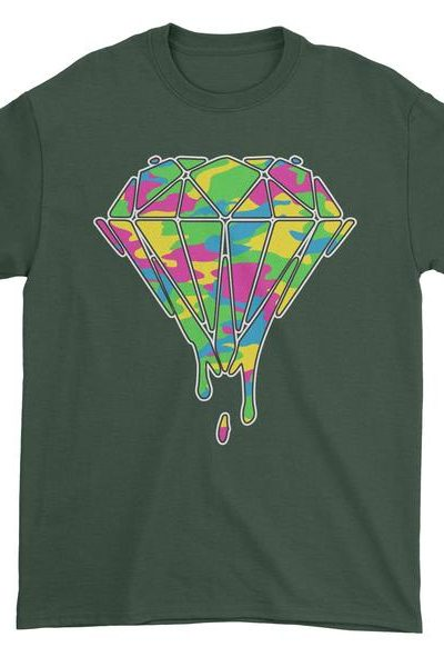 Dripping Diamond Rainbow Camo Mens T-shirt
