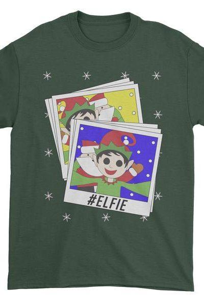 Elfie With Santa Ugly Christmas Mens T-shirt
