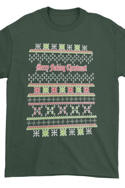 Merry F-cking Christmas Ugly Holiday Mens T-shirt