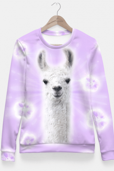 Superstar Llama Fitted Waist Sweater, Live Heroes