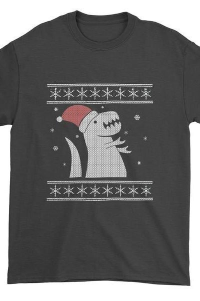 T-Rex In The Snow Ugly Christmas Mens T-shirt