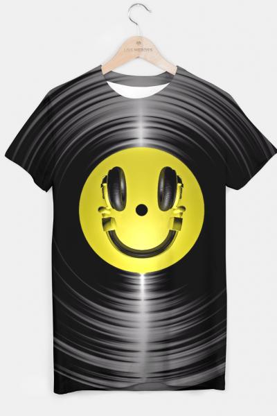 Vinyl Headphone Smiley T-shirt, Live Heroes