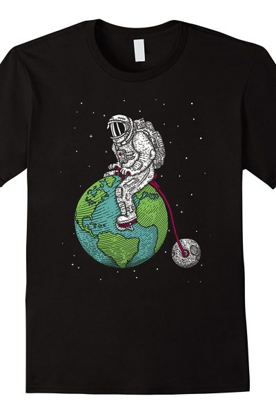 Astronaut riding Earth and Moon bicycle