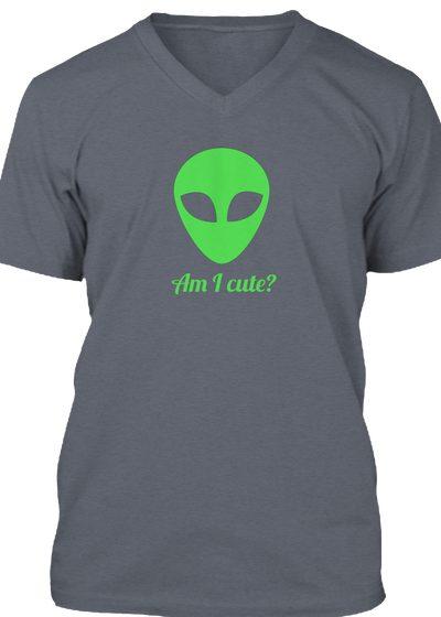Cute Alien Grey Unisex V-Neck T-Shirt