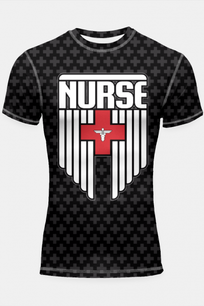 Nurse Shield Shortsleeve Rashguard, Live Heroes