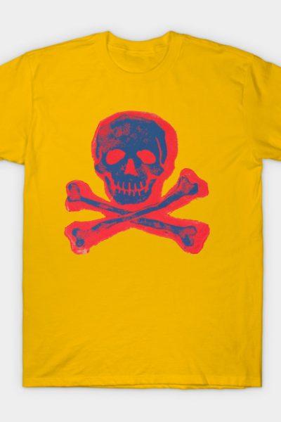 Skull & Crossbones in Eye Blinding Red and Blue T-Shirt
