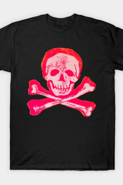 Skull & Crossbones in Sketchy Pink and White T-Shirt