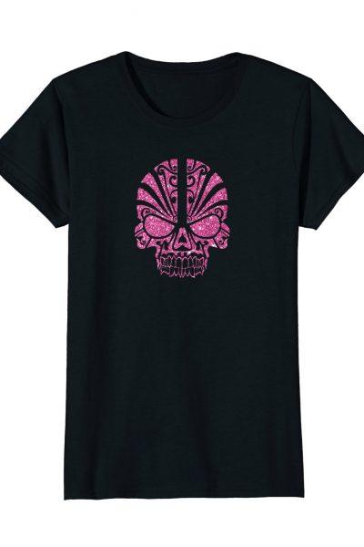 Womens Pink Tribal Glitter Skull