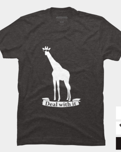 Deal With It Funny Giraffee Slogan tee