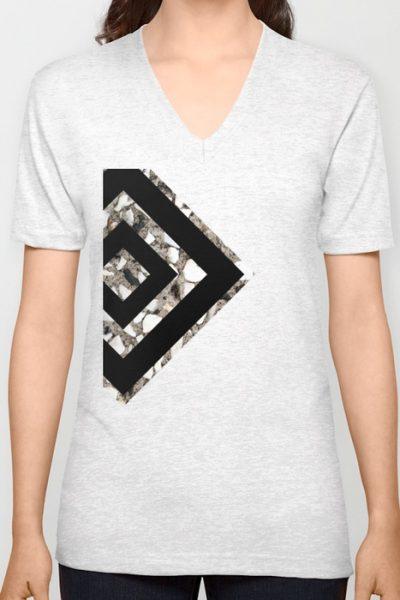 Geometric Black Diamond Unisex V-Neck by pabrimel