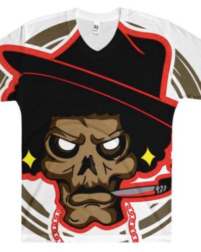 Mean Mug Cigar V-Neck T-Shirt