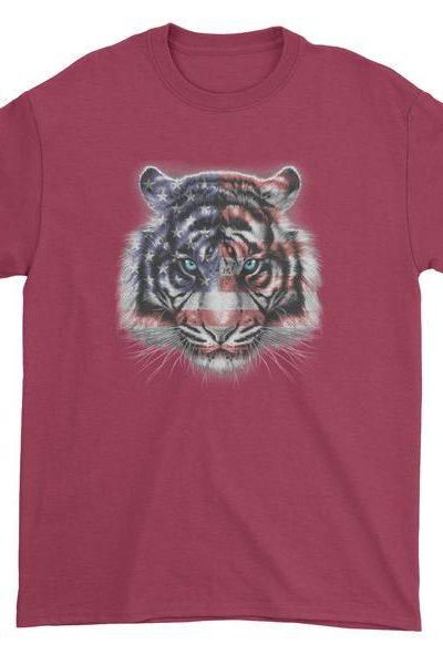 American White Tiger USA Flag Mens T-shirt