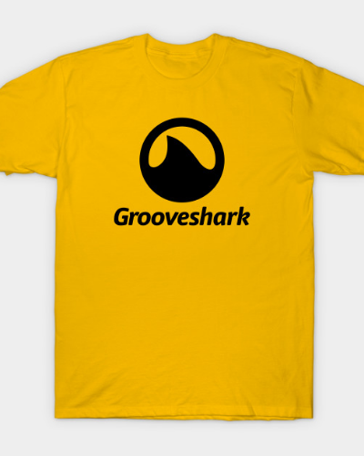 Black Grooveshark Logo with Text T-Shirt