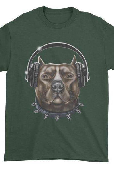 DJ Pitbull With Headphones Mens T-shirt