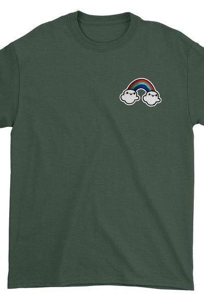 Embroidered Rainbow With Clouds Patch (Pocket Print) Mens T-shirt