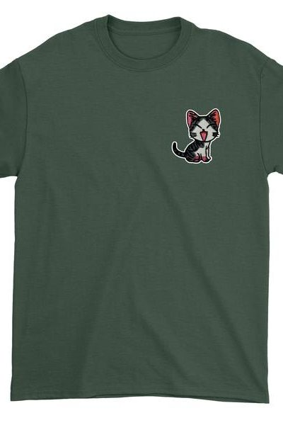 Embroidered Red Cat Patch (Pocket Print) Mens T-shirt