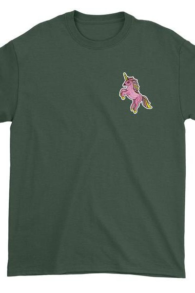 Embroidered Standing Pink Unicorn Patch (Pocket Print) Mens T-shirt