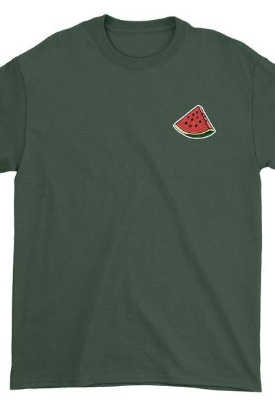Embroidered Watermelon Slice Patch (Pocket Print) Mens T-shirt