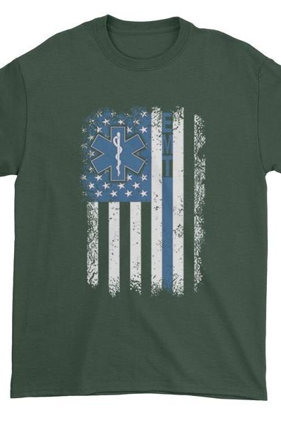 EMT Emergency Medical Technician With Flag Mens T-shirt
