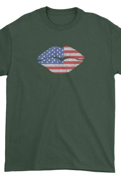 Patriotic Lips with USA Flag Mens T-shirt