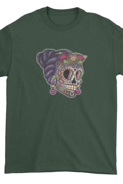 Skull With Hair Day Of The Dead Mens T-shirt