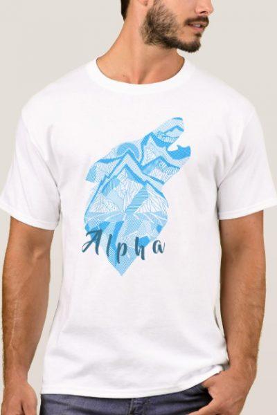 Lineart Wolf Print T-Shirt