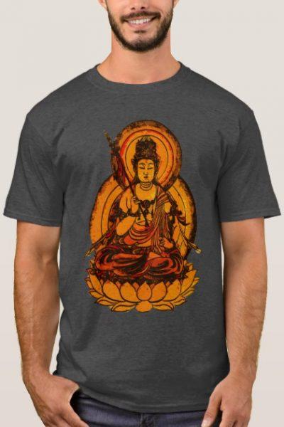 Yellow Buddha Illustration Men T-Shirt