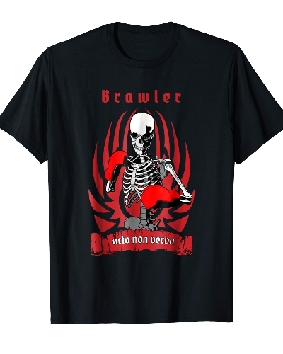 Brawler Boxer Skeleton Fighter Training T-shirt