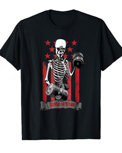 Dumbbell Skeleton American Flag Fitness Training T-shirt