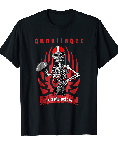 Gunslinger American Football Skeleton Quarterback T-shirt