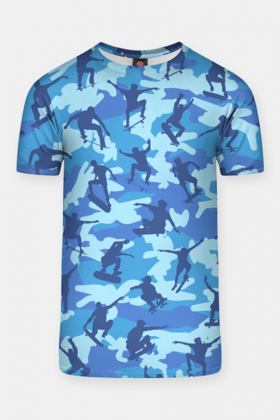 Skater Camo pattern OCEAN T-shirt, Live Heroes