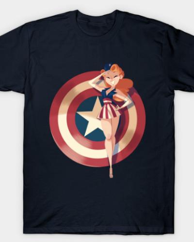 Captain America Pin-up T-Shirt