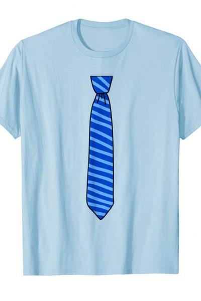 Necktie Tshirt, Tie with casual blue stripes