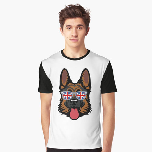 German Shepherd British Patriot Graphic T-Shirt