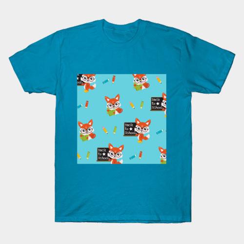 Fox Back to School Patterns T-Shirt