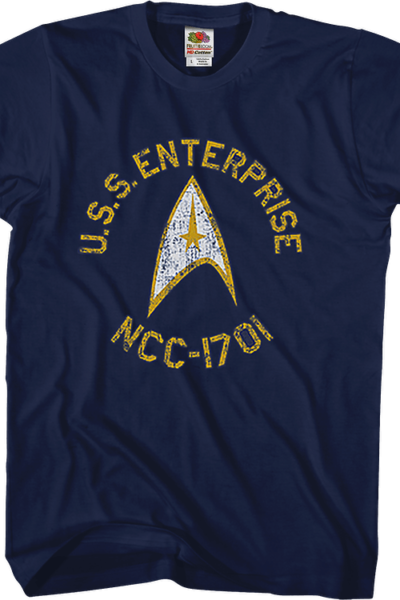 Blue Distressed USS Enterprise Star Trek T-Shirt
