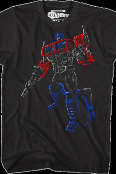 Brush Stroked Optimus Prime Transformers T-Shirt