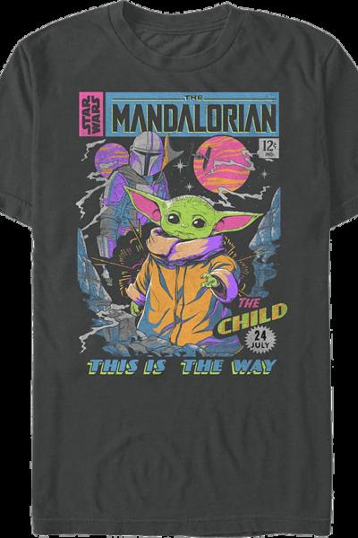 Neon Mandalorian Comic Book Cover Star Wars T-Shirt