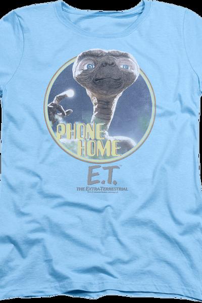 Womens Light Blue Phone Home ET Shirt